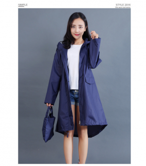 New Women Trendy Windbreaker Waterproof Hooded Raincoat
