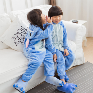Kids Cartoon Winter Sleepwear One-piece Hoodie Children Jumpsuit
