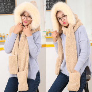 3 in 1 Women Faux Fur Fluffy Hooded Scarf Hat Gloves Set