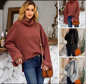 Women Solid Turtleneck Sweater Winter Knitted Pullover