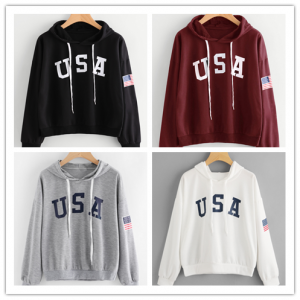 USA Flag Casual Fashion Hoodie Women Winter Tops