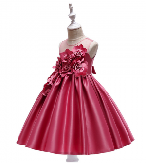 Girls Princess Flower Dress Party Costume Sleeveless Dress