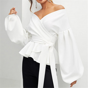 Off Shoulder Women Fashion Elegant Tops Bowknot Long Shirt