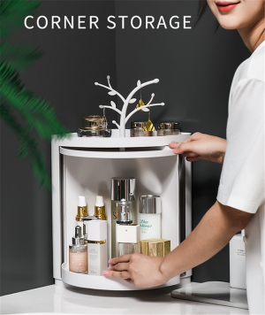 Bathroom Toilet Corner Storage Rack Dustproof 360 Rotation Shelf