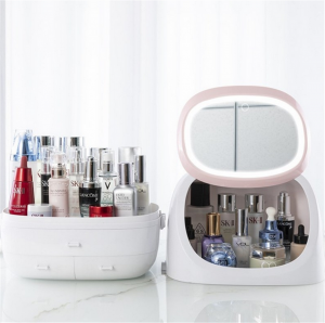 LED Light Makeup Storage Box Portable Drawer Multi-functional Case