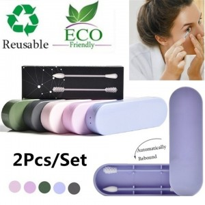 Silicone Reusable Cotton Swab With Box Set
