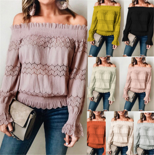 Women Elastic Off Shoulder Tops Long Sleeve Shirt