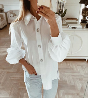 Women White Solid Long Shirt Bubble Sleeve Tops