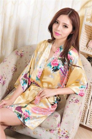 Japan Style Bathrobe Women Sexy Knot Short Bath Silk Dress