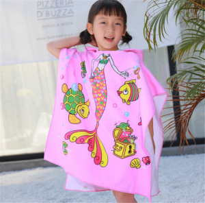 Kids Bath Towel Cartoon Swim Bathrobe Cloak With Hat For Girl Boy