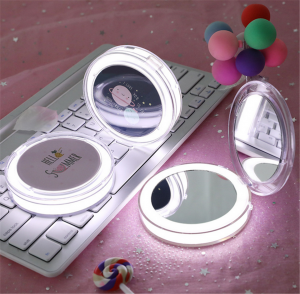 LED Mini Makeup Mirror Handheld Foldable USB Cosmetic Tool