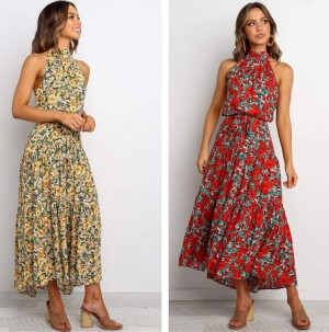 Printed Off-the-shoulder Dress with Hung Neck