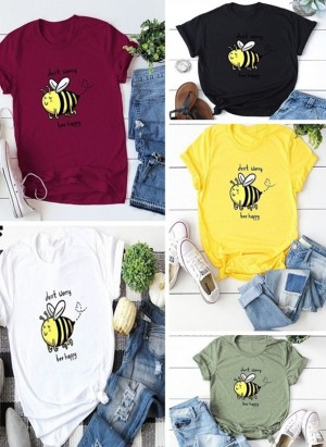 Round Neck Bee Print Casual T-Shirt