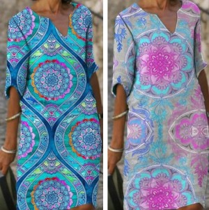 Women Loose Casual Printed V-Neck Dress
