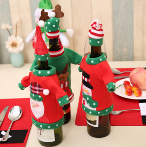 Christmas New Year Wine Bottle Cover Xmas Home Decor