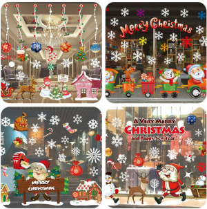 Christmas Window Sticker Xmas Waterproof Removable Wall Decor
