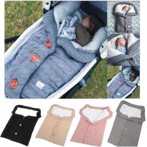Baby Sleeping Bag Button Stroller Wool Thick Swaddle