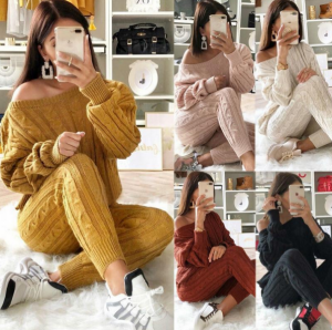 Women Fashion Knitted Pullover Tracksuit Sweatshirts Pants Set