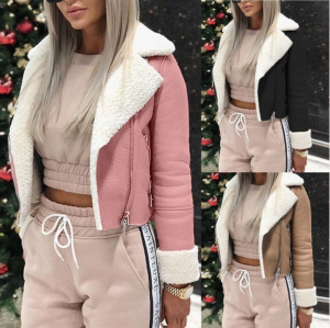 Women Lapel Buckle Jacket Short Winter Coat