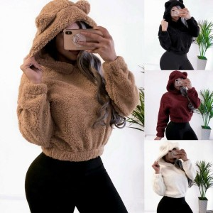 Women Winter Fleece Hoodie Crop Top