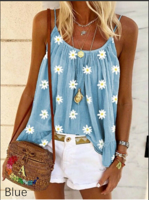 WOMENTOPS SWEET DAISY PRINT SLEEVELESS