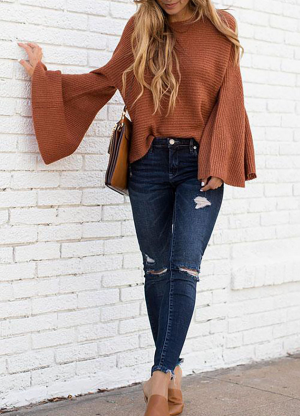 Autumn and Winter New Sweater Flared Sleeves Loose Pullover Bat Shirt Sweater