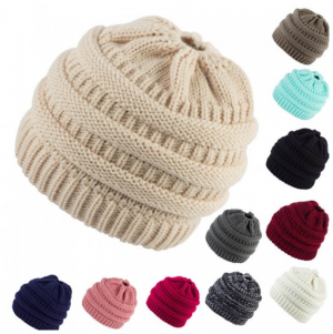Cable Knit High Bun Hat