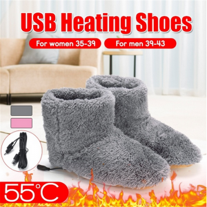 USB Warm Heating Shoes Winter Plush Boots