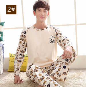 Men Homewear Sleepwear Long Sleeve Cute Pyjamas