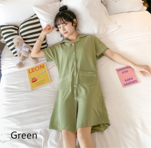 Summer Short Solid Shirt Nightwear Dress Pyjamas Women Sleepwear